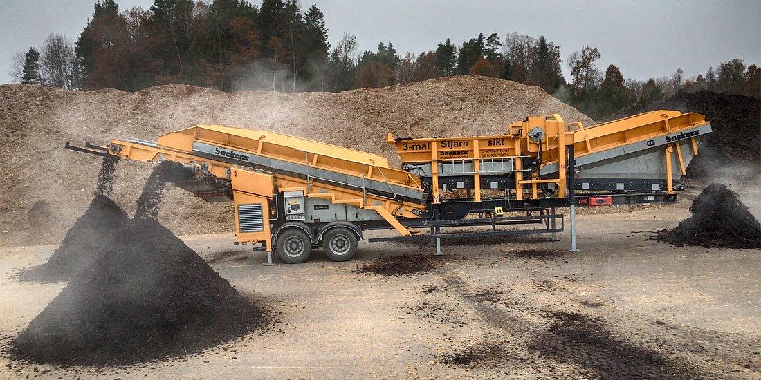Maskiner för återvinning av bark och biomassa